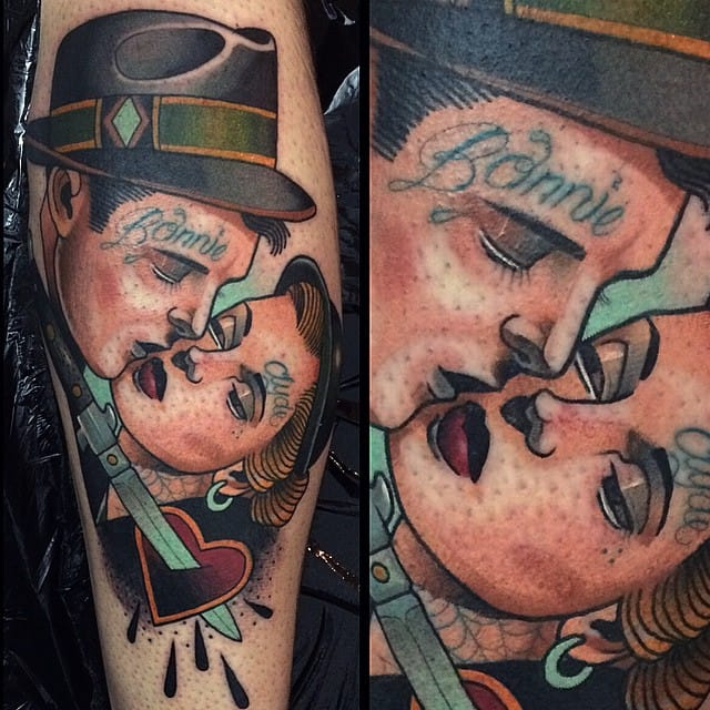 Bonnie and Clyde: the classic badass lovers, now with tattoos!