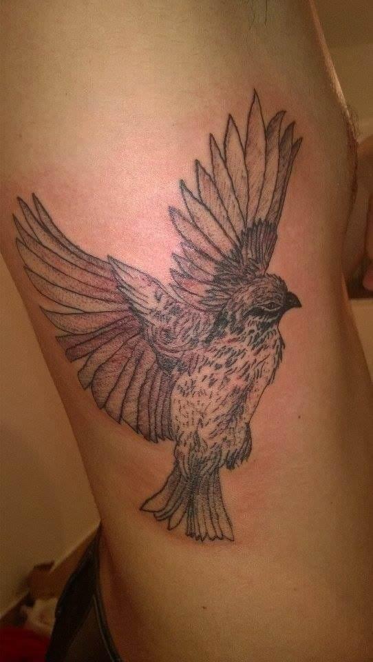 Linda tatuagem usando pontilhismo