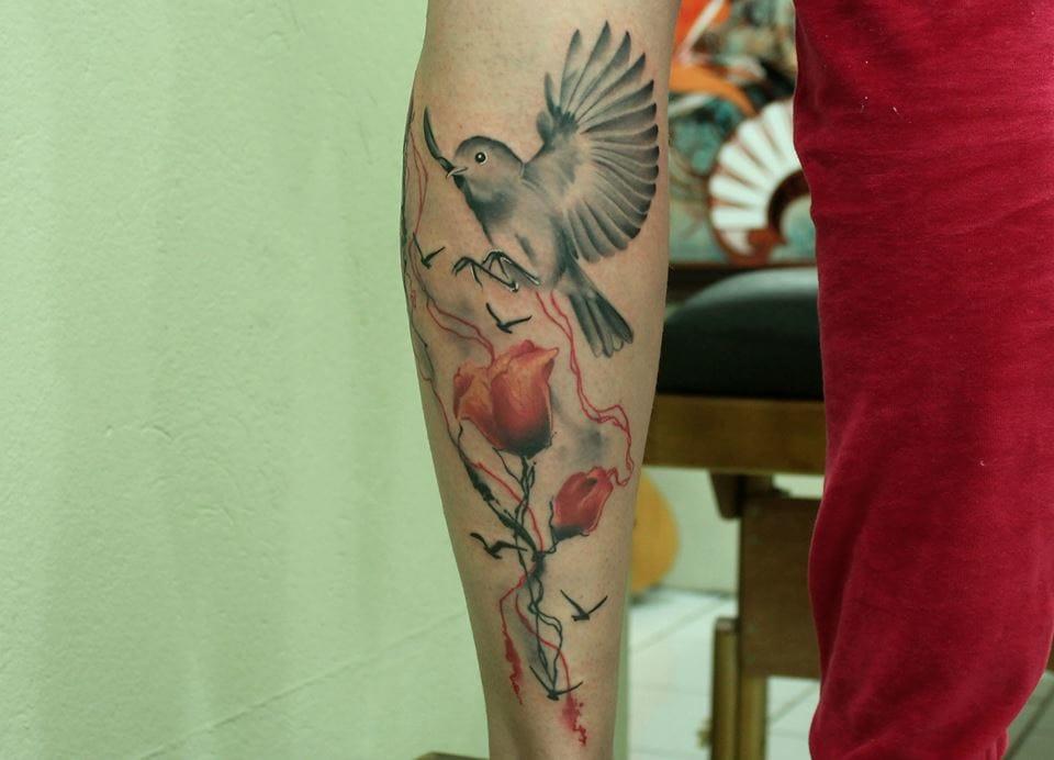 Lindo pássaro, agora na tatuagem completa