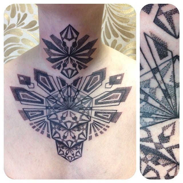 Bold chest and throat dotworks...