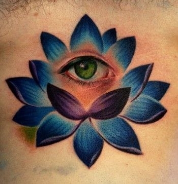 Blue lotus tattoo by Cory Norris