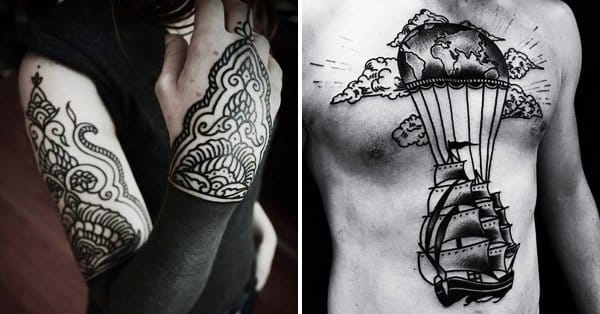 40 blackwork tattoos that go great together with spf for Sunscreen new tattoo