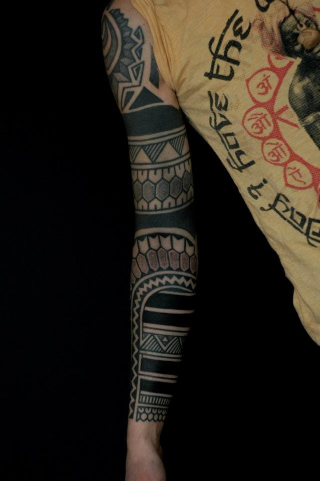 Blackwork sleeve by Gerhard Wiesbeck