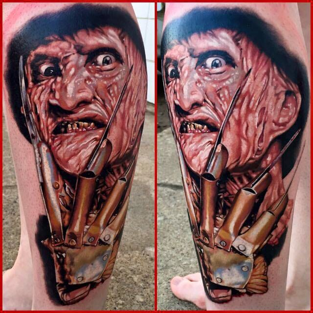 Freddy tattoo by Tony Sklepic of Sanitarium Studios in Edmonton, Canada