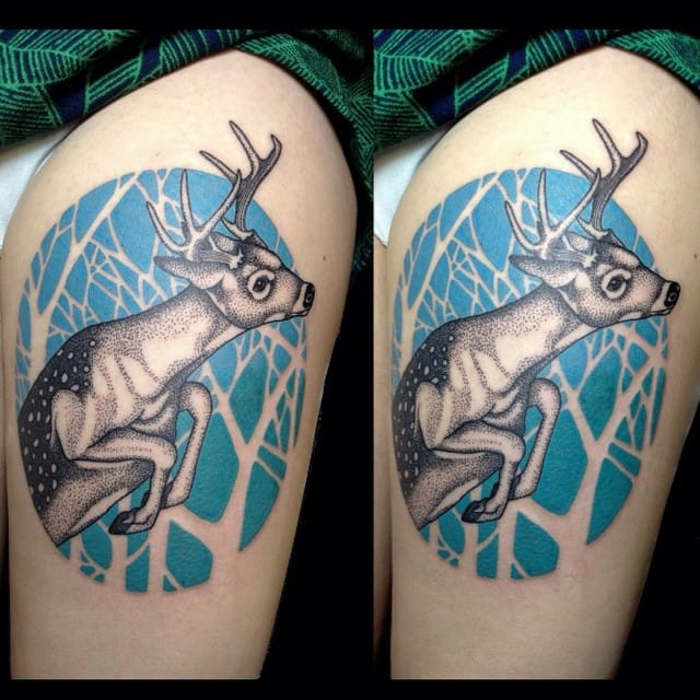 Love the blue ink and negative space background!