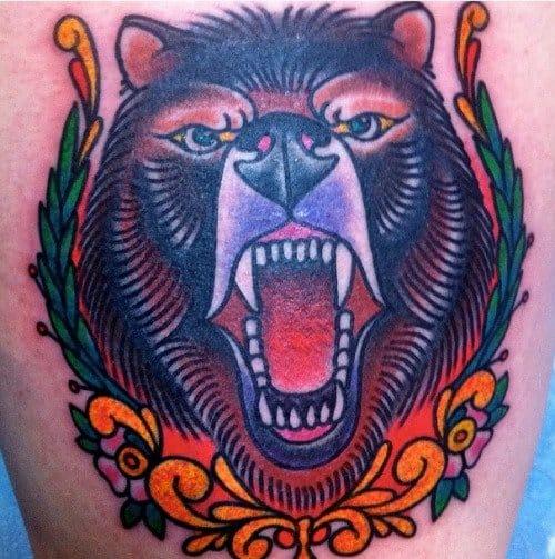 Old School Bear Tattoo by Tomas Garcia