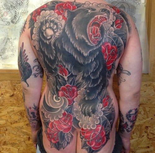 Traditional Bear Backpiece Tattoo by Andreas Coenen