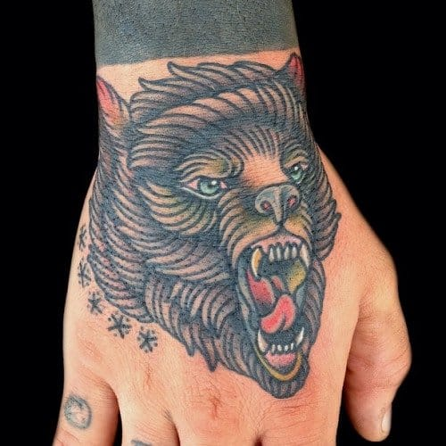 Traditional Bear Hand Tattoo by Phil Hatchet-Yau