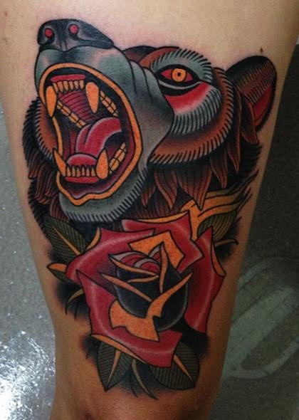 Traditional Flower Bear Tattoo by Montalvo Tattoos