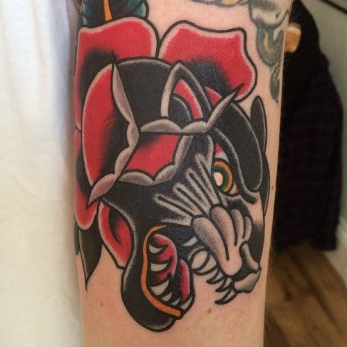 Badass Panther Rose Tattoo by Bradley Tompkins