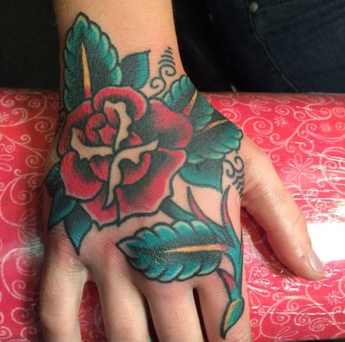 Great Hand Rose Tattoo by Justin Lamoreux