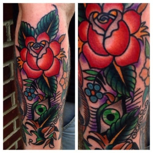 Traditional Rose Tattoo by John Hill