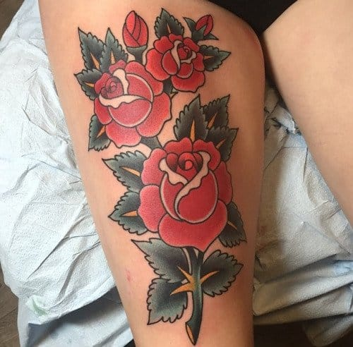 Traditional Rose Tattoo by Nick Colella