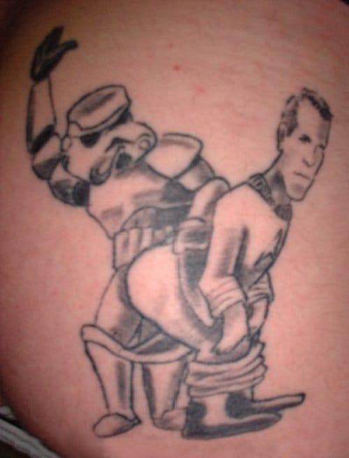 Yep, that's a Stormtrooper spanking Captain Kirk!!!!