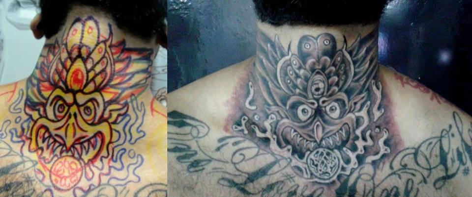 No pescoço é difícil demais, tanto para o tatuado quanto para o tatuador!