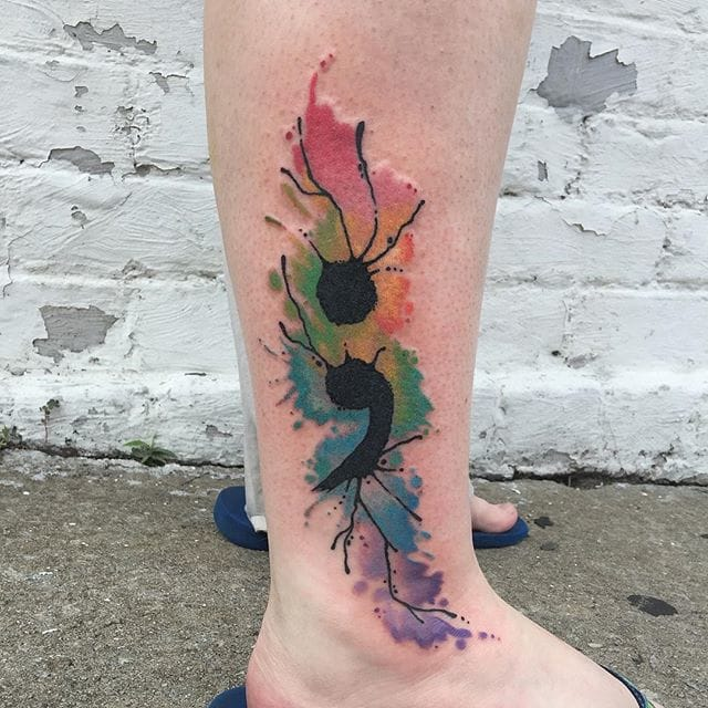 The viral semi-colon tattoo in a watercolor version by Peter Faehnrich.