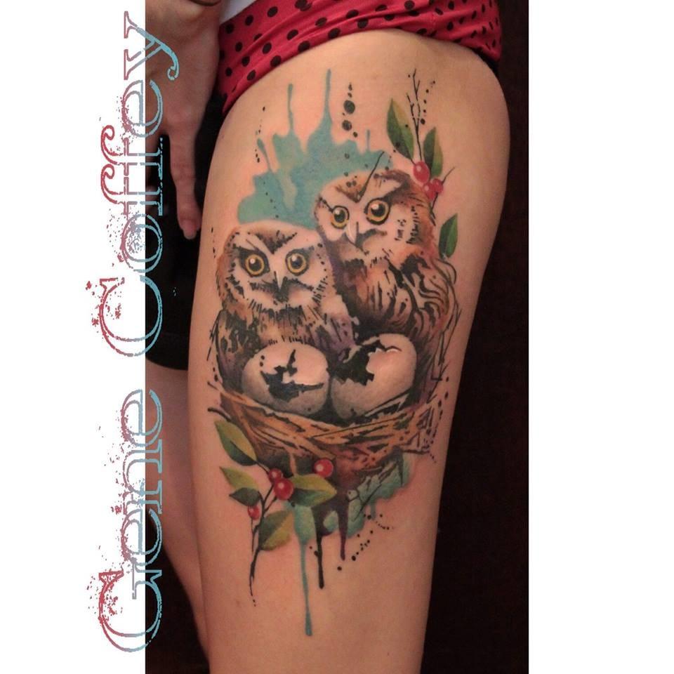 Cute baby owls by Gene Coffey...