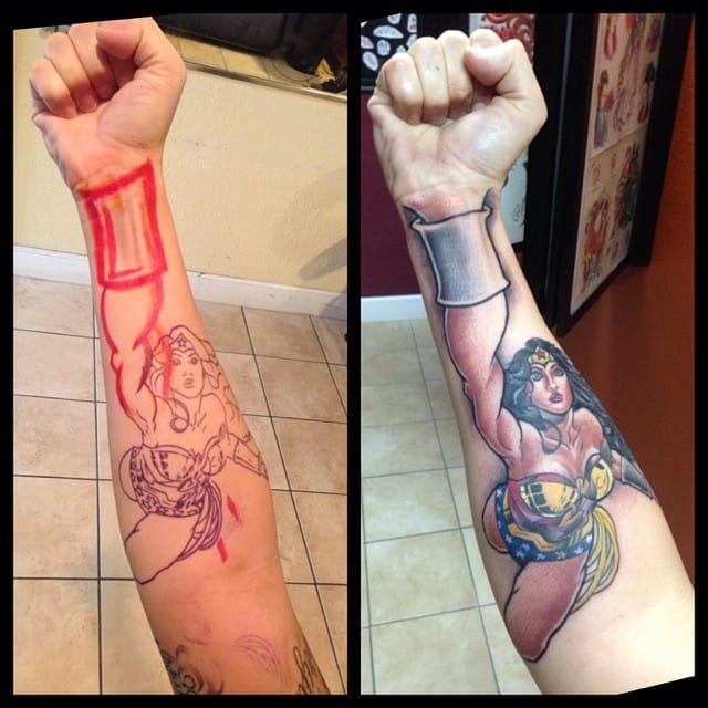 The superheroine version of the trendy 3D forearm tattoos! By Adriano Brandão.