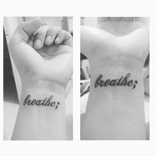 A moving testimony, semicolon tattoo via @polaroidmeloirs... #breathe #lettering #semicolon