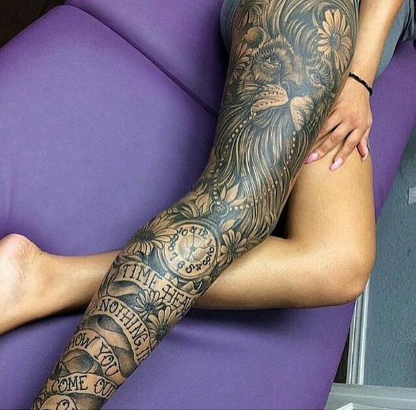 Incredible Black and Grey Leg Sleeve by Joseph Haefs