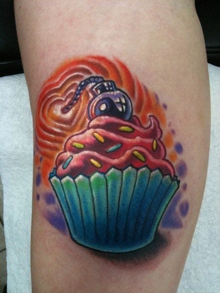 40 yummy and funny cupcake tattoos tattoodo for Cherry bomb tattoo parlor perth