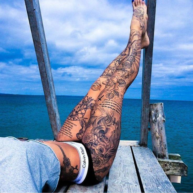 Another Shot Of Sabrina Kongsted's Incredible Leg Tattoos