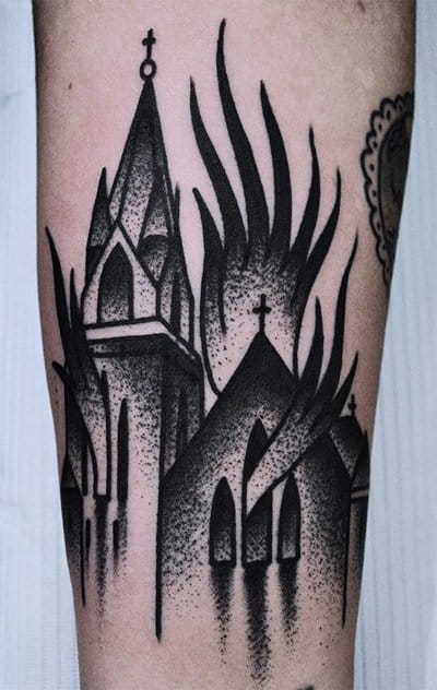 20 Controversial Burning Church Tattoos!! | Tattoodo