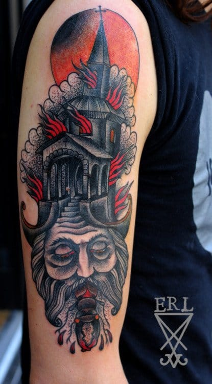 Burning Church Tattoo by Simon Erl
