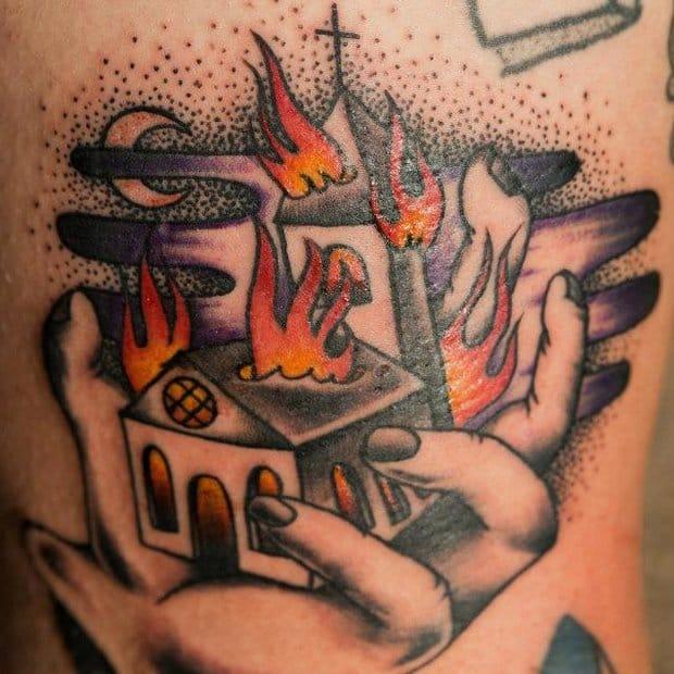 Burning church tattoo