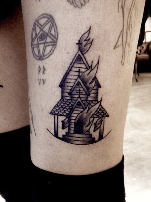 Burning Church Tattoo, unknown artist