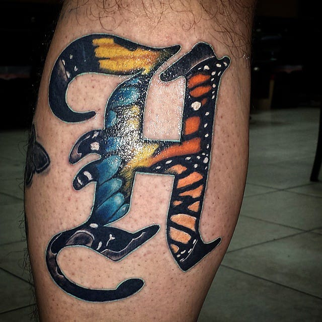 Butterfly colored H by Tyler Hendrick.