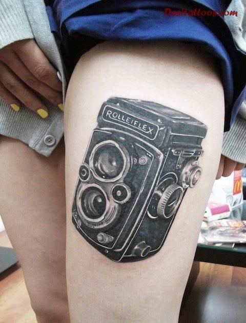 Câmeras vintage sempre são as queridinhas de quem vai tatuar