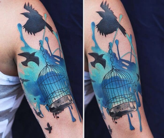 watercolor blue cage