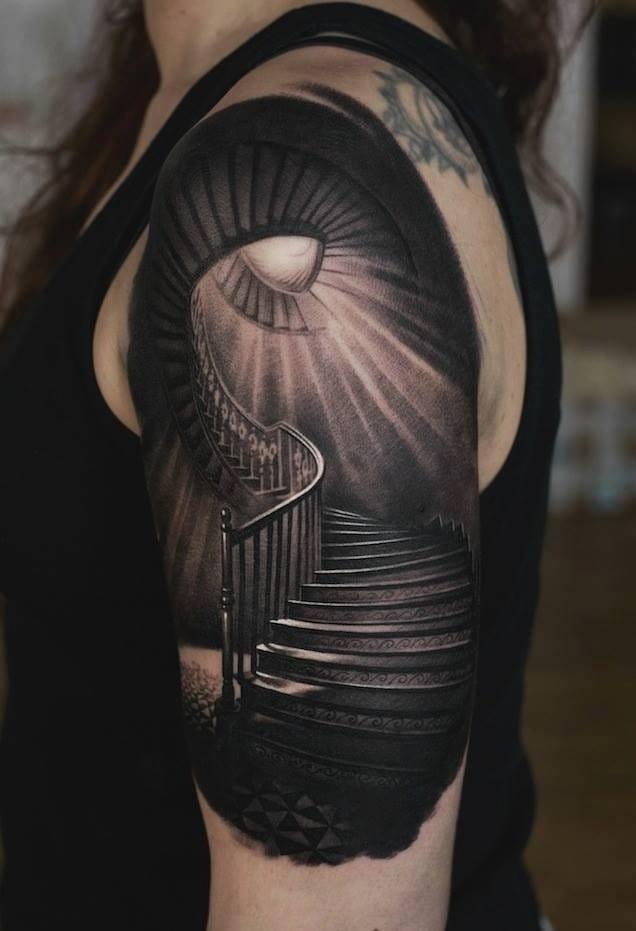Stairway tattoo, artist unknown