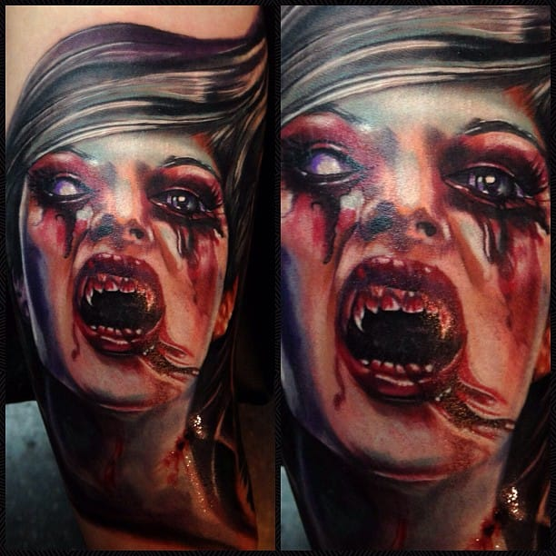 Horror tattoo by Ron Russo, bloody vampire tattoo