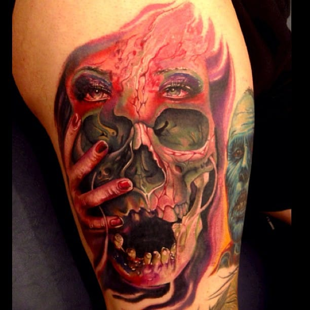 Scarry skull tattoo, Horror tattoo by Ron Russo