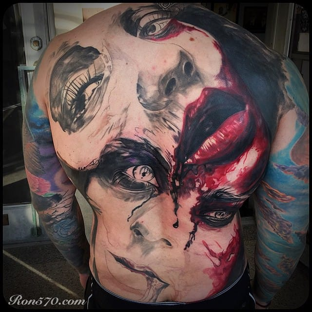 Bloody horror tattoo by Ron Russo