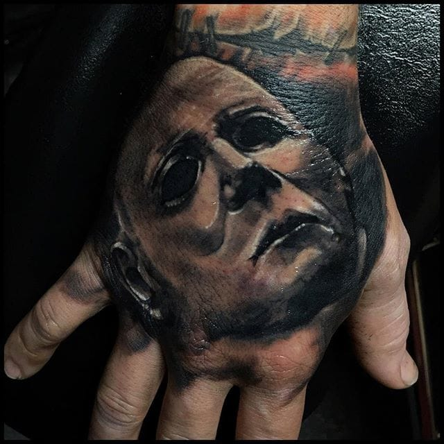 Horror hand tattoo by Ron Russo