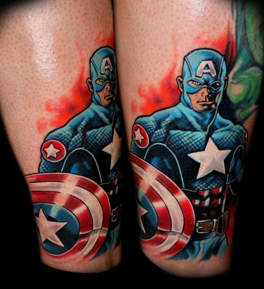 Captain America superhero tattoo