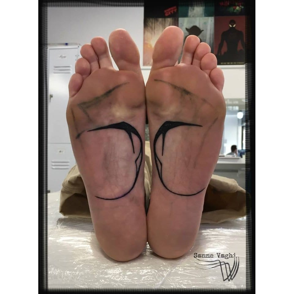 Unique tattoo under the feet