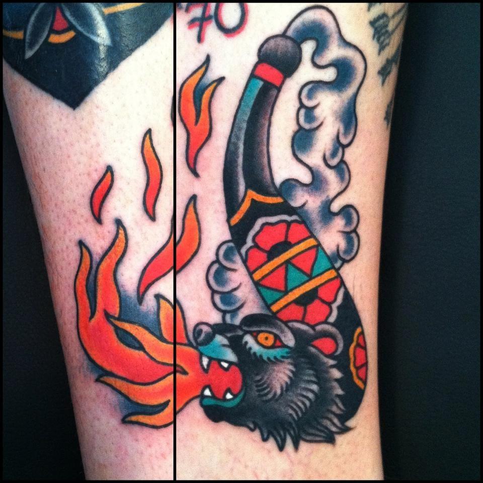 Fierce Bear Pipe Tattoo by Sea Wolf Tattoo Company