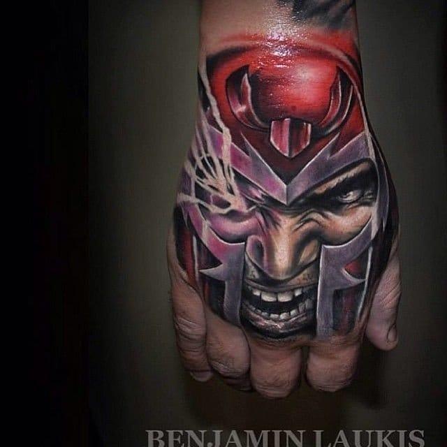 Magneto Supervillain tattoo by Benjamin Laukis