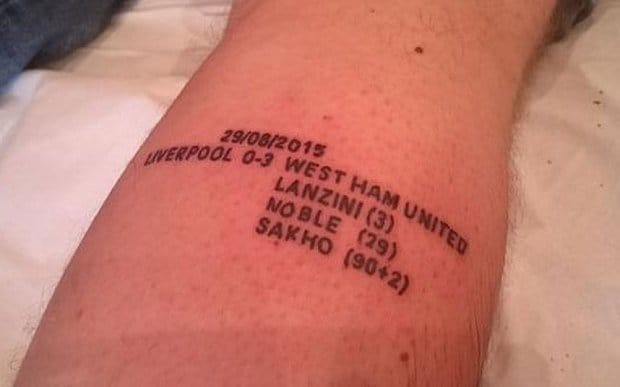 West Ham Fan Makes The Ultimate Tattoo Tribute!!