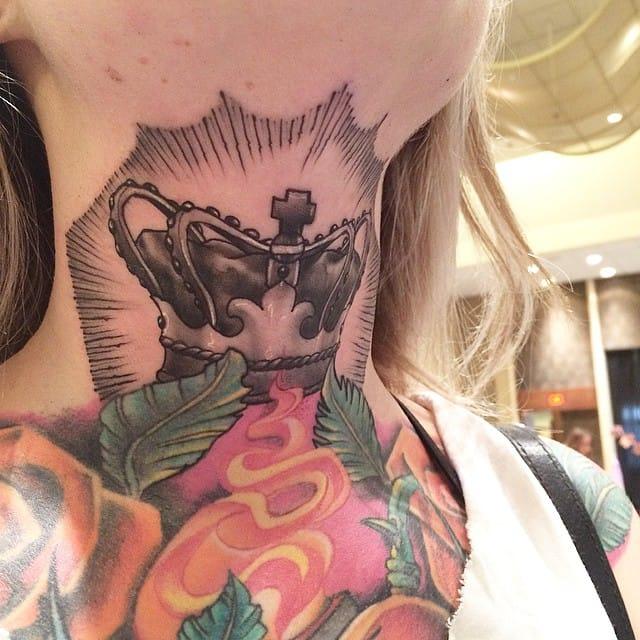 Throat tattoo by Hector Cedillo.