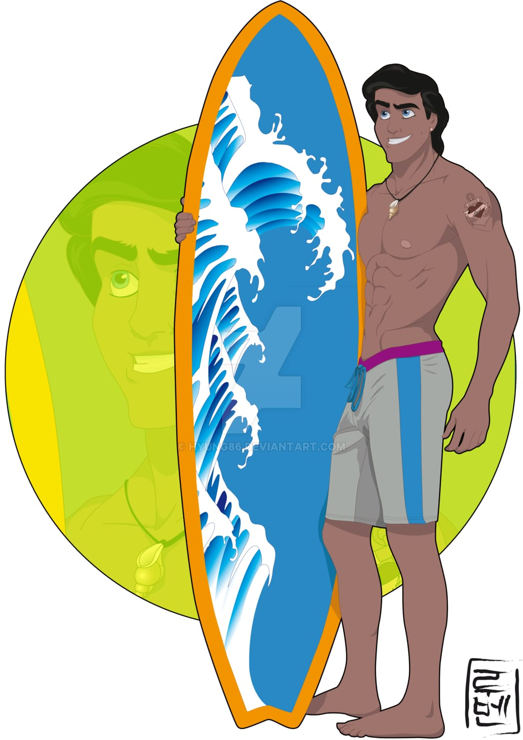 Little Mermaid's Prince Eric, reimagined as a surfer.