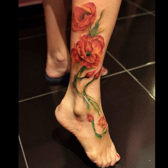 Sweet ankle tattoo by Evil Doll Studio.