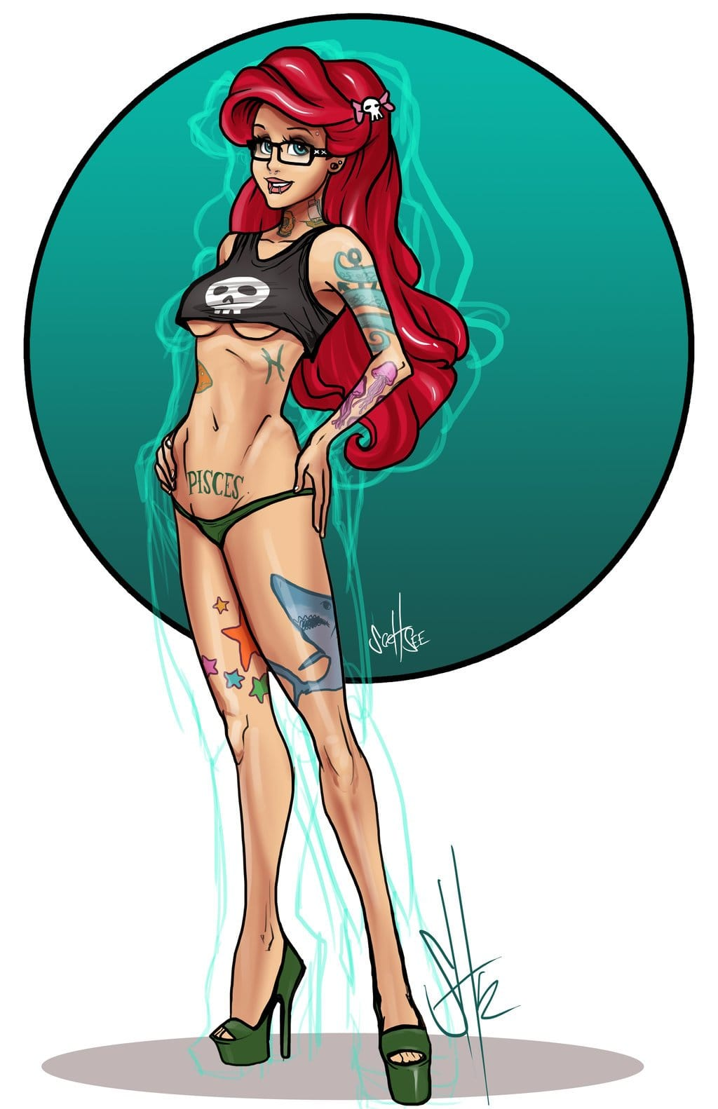 Ariel's got some nautical themed tattoos but no tail... By Scott See.