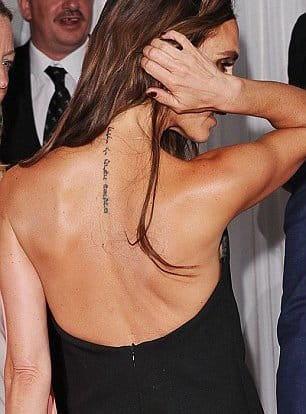 Victoria Beckham Removes Her Spinal Tattoo