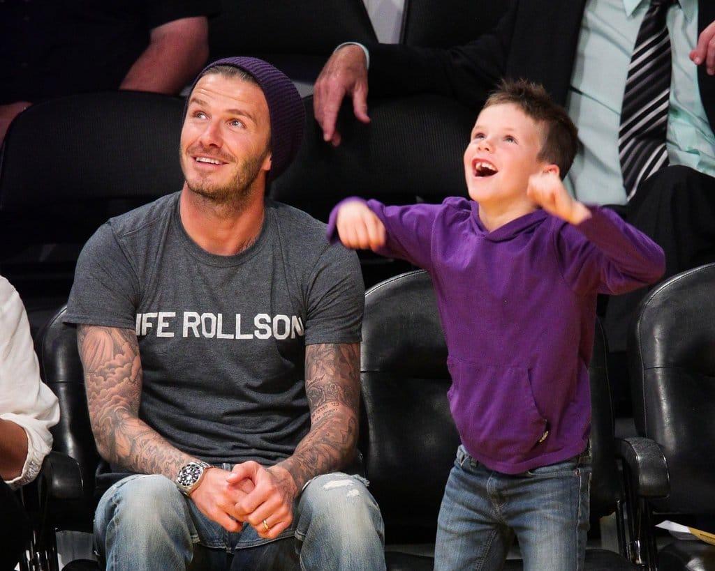 David Beckham cheered alongside son Cruz Beckham Lakers game
