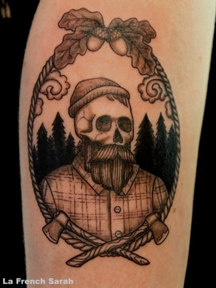 Black and Grey Lumberjack Tattoo by La French Sarah